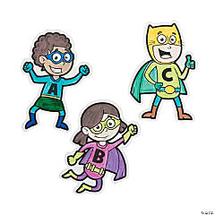 Color Your Own Superhero Alphabet Cutouts