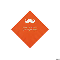 Mustache Personalized Orange Beverage Napkins