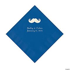 Mustache Personalized Blue Luncheon Napkins