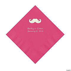 Mustache Personalized Hot Pink Luncheon Napkins