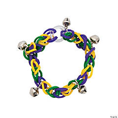 Rubber Mardi Gras Fun Loop Bracelets with Bells