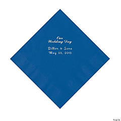 """Our Wedding Day"" Personalized Blue Luncheon Napkins"