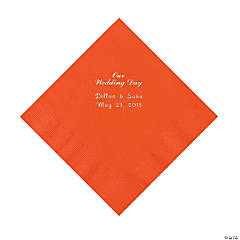 """Our Wedding Day"" Personalized Orange Luncheon Napkins"