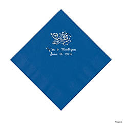 Rose Personalized Blue Luncheon Napkins