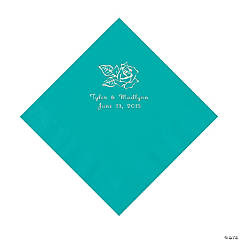 Paper Rose Personalized Teal Luncheon Napkins