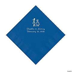 Wedding Couple Personalized Blue Luncheon Napkins