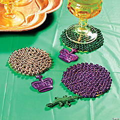 Mardi Gras Beaded Coasters Idea