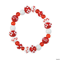 Stretchy Red & White Bracelet Idea