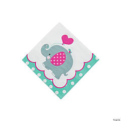 1st Birthday Pink Elephant Beverage Napkins