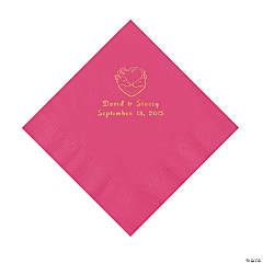 Hunter Wedding Personalized Hot Pink Luncheon Napkins