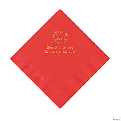 Hunter Wedding Personalized Red Luncheon Napkins