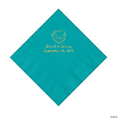Hunter Wedding Personalized Turquoise Luncheon Napkins