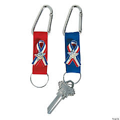 Red, White & Blue Ribbon Key Chain with Carabiner Clip
