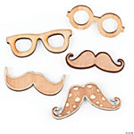 Glasses & Mustache Wood Veneer Shapes