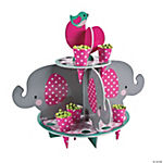 1st Birthday Pink Elephant Treat Stand With Cones
