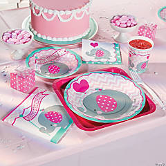 1st Birthday Pink Elephant Basic Party Pack