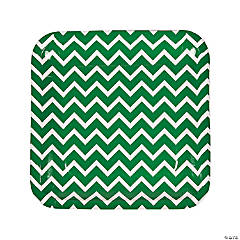 Green Chevron Dinner Plates