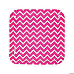 Hot Pink Chevron Dinner Plates
