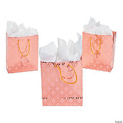 Medium Metallic Copper & Coral Gift Bags