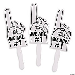 White We're #1 Finger Fans