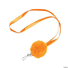 Orange Pom-Pom Lanyards