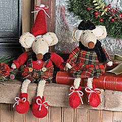 Plush Sitting Christmas Mice