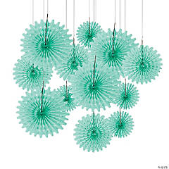 Mint Green Hanging Tissue Fans