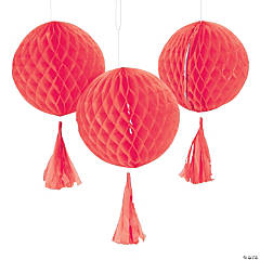 Coral Honeycomb Tissue Balls with Tassel