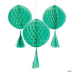 Mint Green Honeycomb Tissue Balls with Tassel