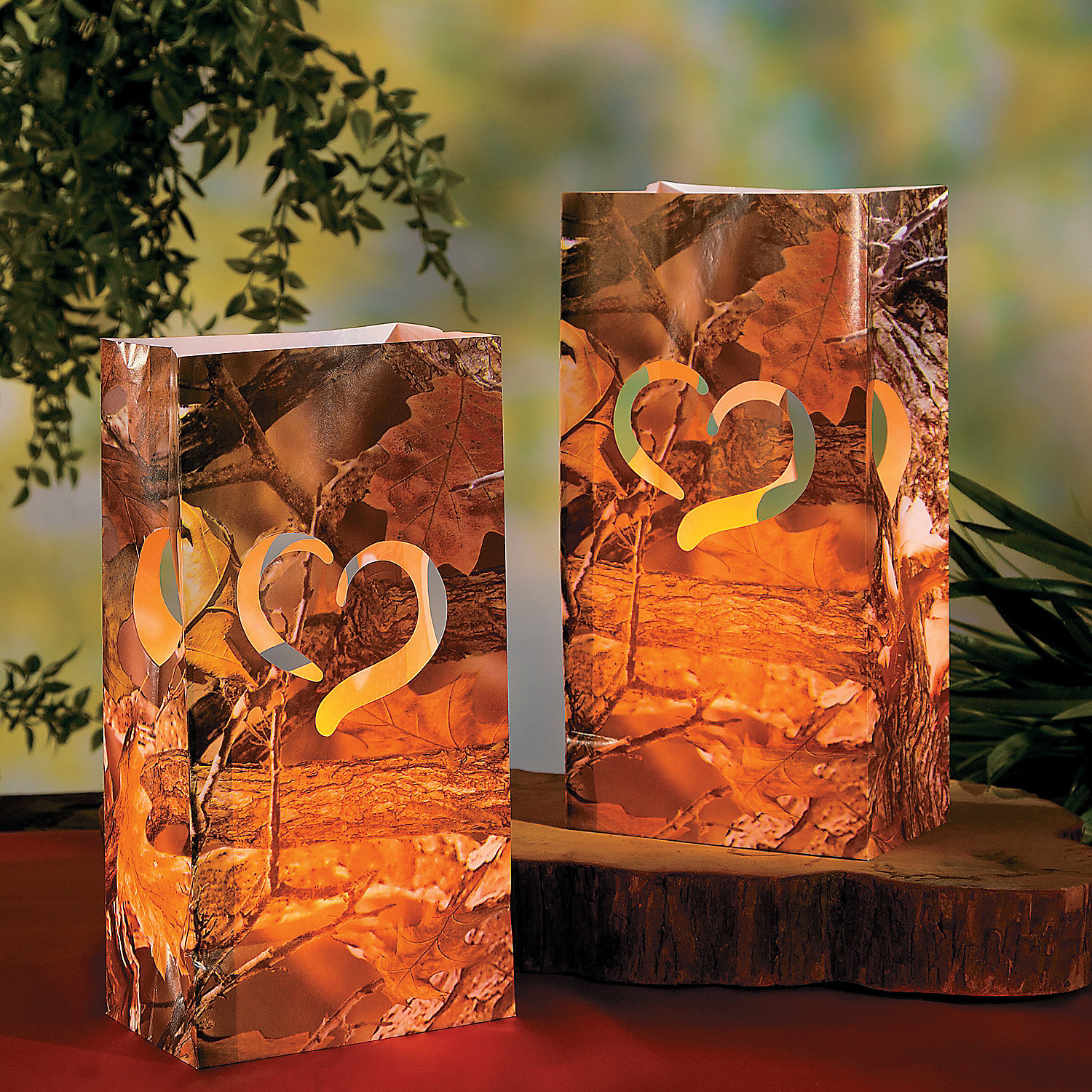 Camo Outdoor Wedding Ideas: Camouflage Wedding Luminary Bags, Party Lights & Special