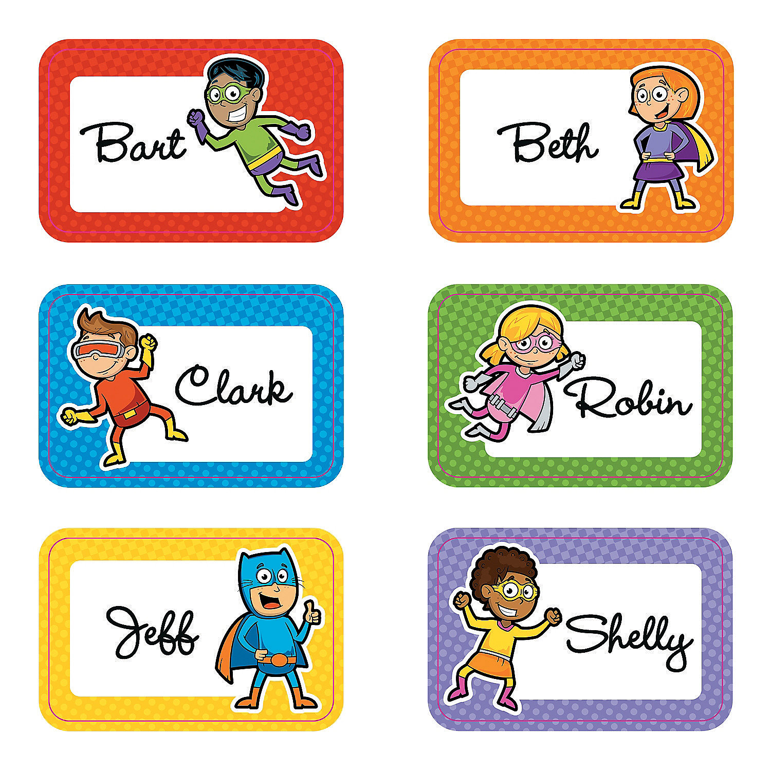 Superhero Name Tags Labels Oriental Trading