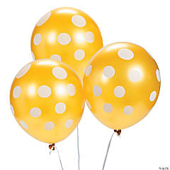 Gold Polka Dot Latex Balloons