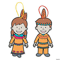 Color Your Own Native American Kids Ornaments