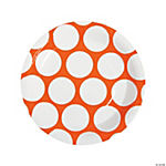 Orange Polka Dot Dinner Plates