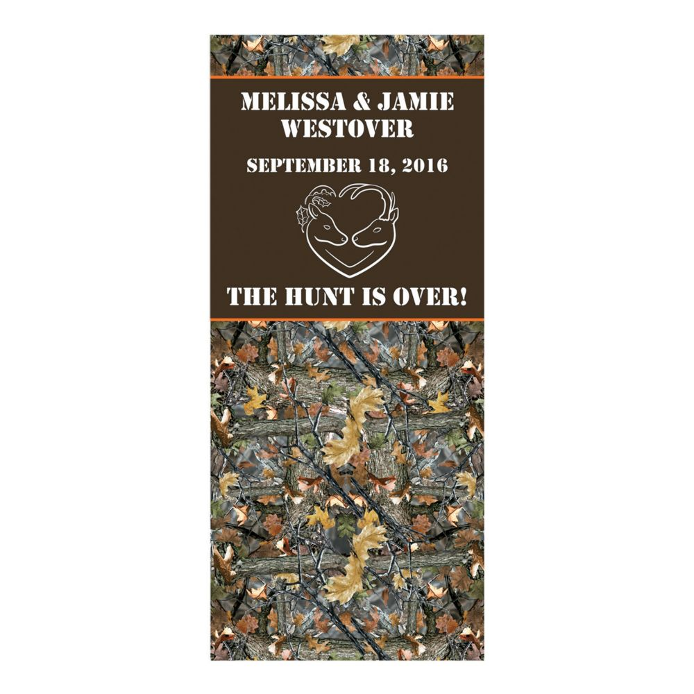 Personalized The Hunt is Over Wedding Backdrop Banner - Party