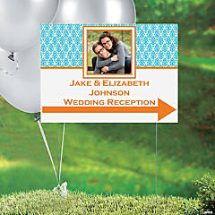 Turquoise & Pumpkin Custom Photo Yard Sign