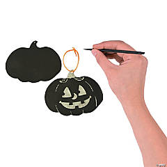 Glow-in-the-Dark Magic Color Scratch Jack-o'-Lantern Ornaments