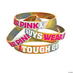 Rubber Tough Guys Camo Pink Ribbon Bracelets