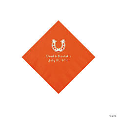 Orange Horseshoe Personalized Napkins - Beverage