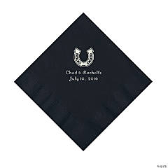 Black Horseshoe Personalized Napkins - Luncheon