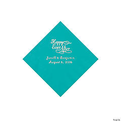 Teal Happy Ever After Personalized Napkins - Beverage