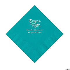 Turquoise Happy Ever After Personalized Napkins - Beverage