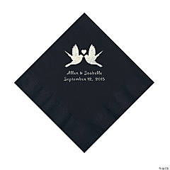 Black Love Birds Personalized Napkins - Luncheon