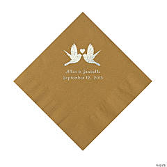 Gold Love Birds Personalized Napkins - Luncheon