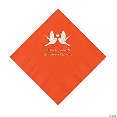 Orange Love Birds Personalized Napkins - Luncheon