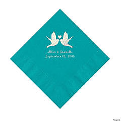 Turquoise Love Birds Personalized Napkins - Luncheon