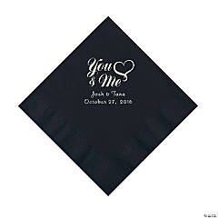 Black Me & You Heart Personalized Napkins - Luncheon