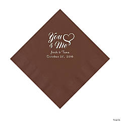 Chocolate Brown Me & You Heart Personalized Napkins - Luncheon