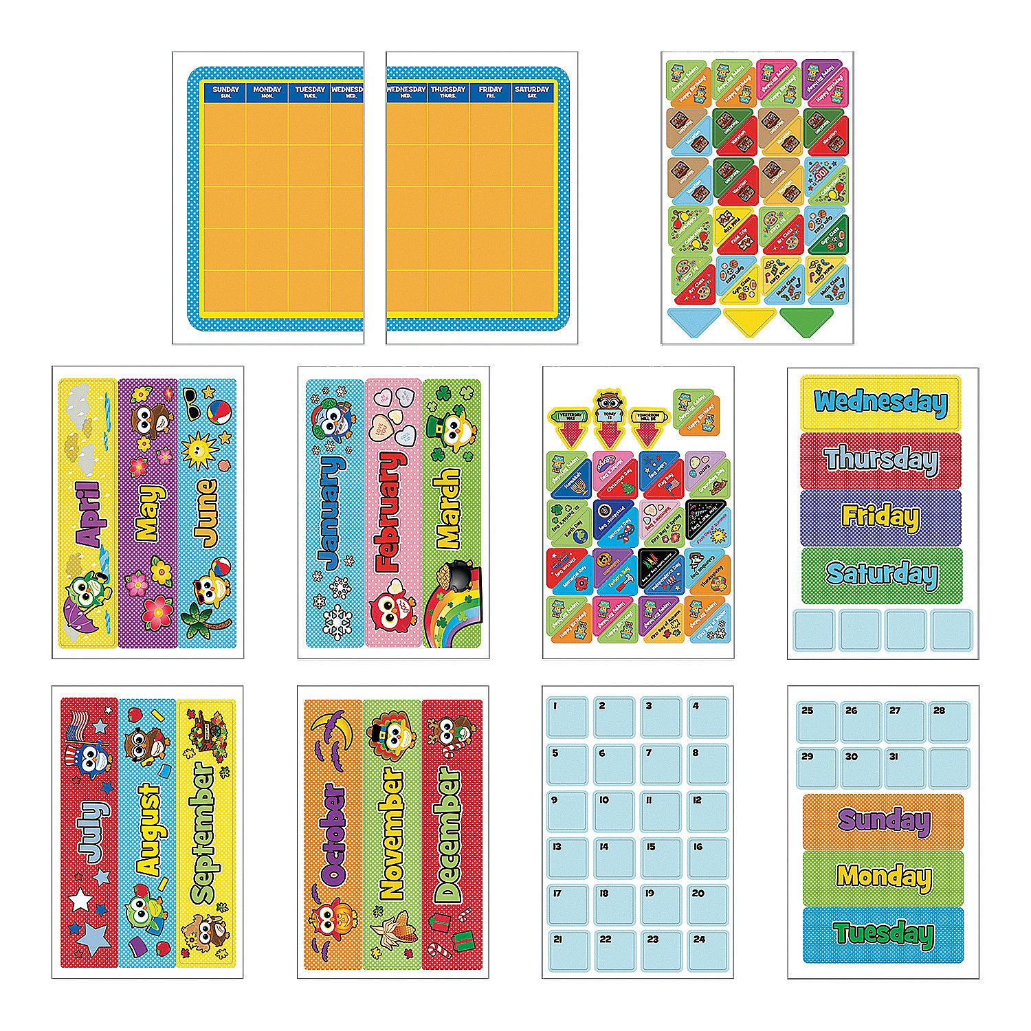 Classroom Calendar Bulletin Board Set : Owl bulletin board calendar kit sets
