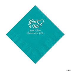 Turquoise Me & You Heart Personalized Napkins - Luncheon